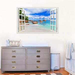 Rajahubri 3D Beach Fake Window Wall Stickers Blue Sky Window View Wall Decals Seascape Wall Sticker Removable Ocean Beach Wall Decals for Bedroom Kids Room