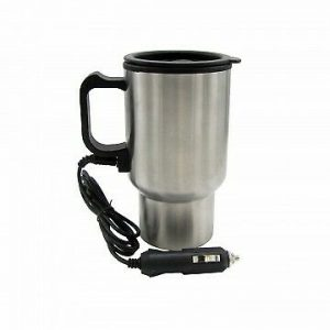 12V Auto Heated Travel Mug Wit Power Charger. Stainless-Steel. Thermo coffee tea