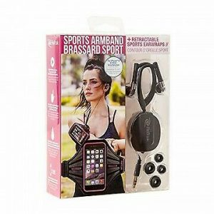 Retrak ETARMSPK Sports Armband Gym Running Exercise With Retractable Wrap Earbud.